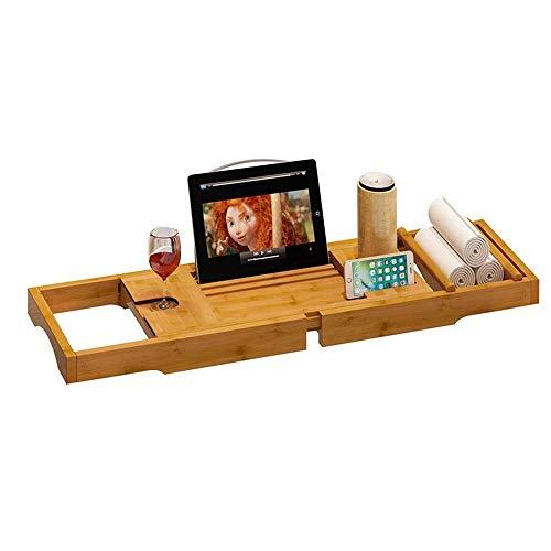 Weentop-hm Badewanne Caddy Premium-natürlicher Bambus Badewanne Tray Ausziehbare Badewanne Caddy Brücke mit Tablet Smart-Telefonbuch-Rahmen-Wein-Glas-Halter für Home Spa Experience