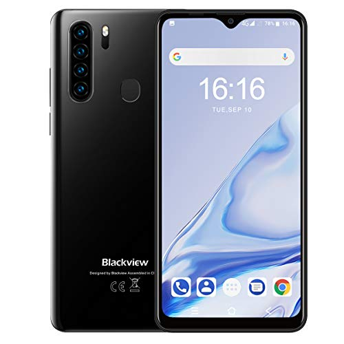 Blackview A80 Pro Smartphone, 6,49 Zoll (16,48cm) HD+ Display 4680mAh Batterie 4GB RAM 64GB interner Speicher Octa-core, 13MP+8MP Kamera Face ID Fingerabdruck GPS 4G Dual SIM Handy (Schwarz)