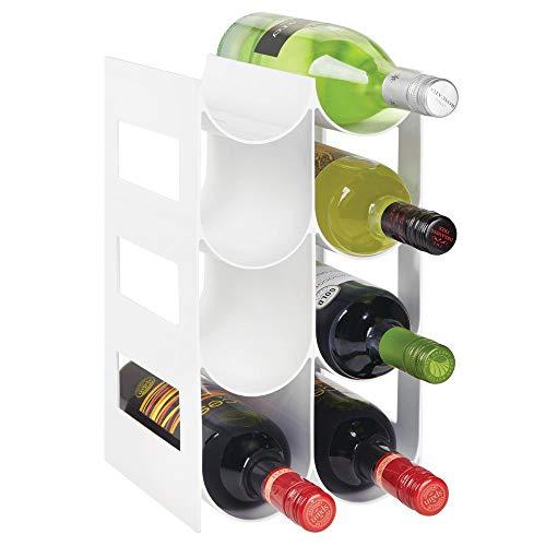 mDesign praktisches Wein- und Flaschenregal – Weinregal Kunststoff für bis zu 8 Flaschen – freistehendes Regal für Weinflaschen oder andere Getränke – weiß