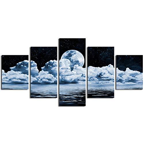 FGVBWE4R Moderne Home Wandkunst Dekoration Rahmen Bilder 5 Stücke Mond Meeresspiegel Landschaft HD Gedruckt Ölgemälde Auf Leinwand Modulare Poster-XXL