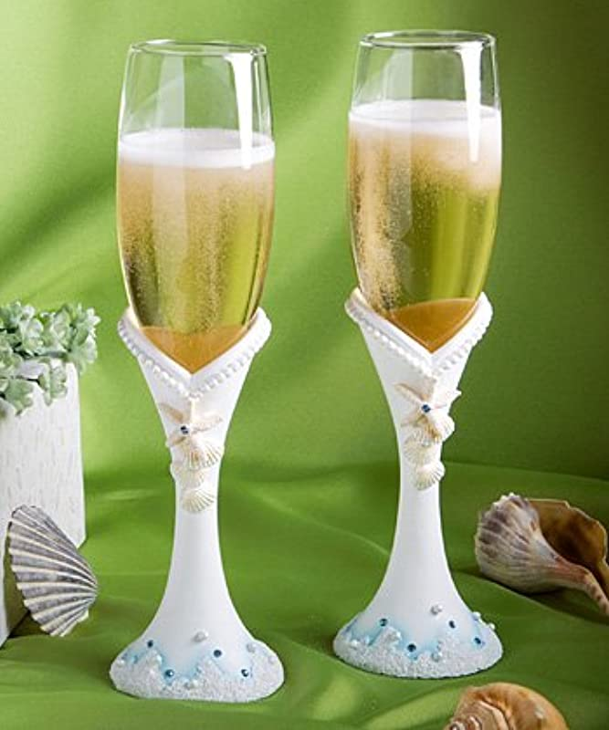 Fashioncraft 2416 Finishing Touches Collection Beach Themed Champagne Flutes One Size White