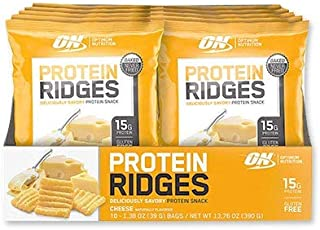 New! Optimum Nutrition High Protein Ridges, Baked Chips, Savory Snack To Go, Gluten Free, Soy Free, Flavor: Cheese, 10 Count