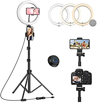 Wonew 10 Inch LED Ring Light with Tripod Stand, 3 Phone Holders & Remote
