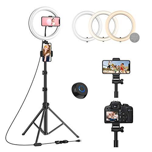 WONEW 10 Ring Light avec 170cm Trépied & 3 Supports de Téléphone, LED Anneau Lumineux avec Obturateur Distant sans Fil pour Caméra/Téléphone, Youtube&TikTok Vidéo, Maquillage, Eclairage, Selfie