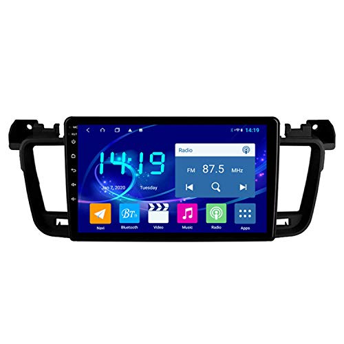 BBGG Navegación GPS estéreo para automóvil Android 9 Sat con Llamada Manos Libres Bluetooth/Radio DVD/USB/SD/Audio/Video, navegador GPS 4G + 64G 11-18 Compatible con Peugeot 508