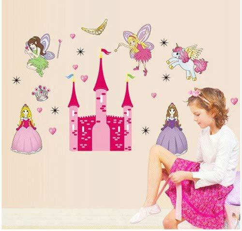 ahjs456 Cartoon Children Baby Nursery Room Furnished Bedroom Bedside Cartoon Stickers Angel Castle Wall Stickers
