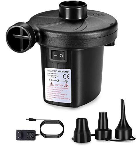 Kucosy Elektrische Luftpumpe, Luftmatratze Pumpe Elektropumpe Power Pump Schnellbefüllbarer Inflator-Deflator mit 3 Düsen ideal für Campen aufblasbare Matratze, Kissen, Bett, Boot, Schwimmring