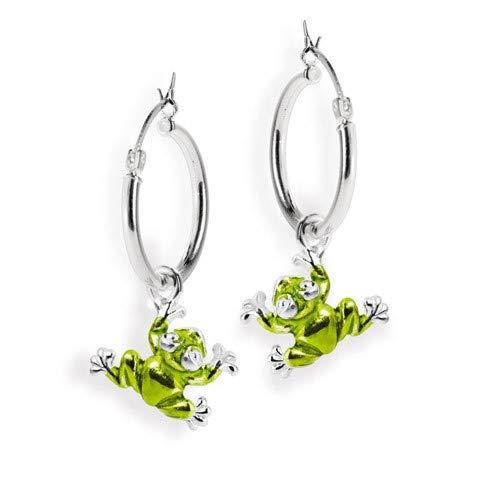 Heartbreaker Frosch Einhänger für Creolen in Echtsilber | Kollektion Style & Go | Froscheinhänger aus 925 Sterlingsilber für Creolen