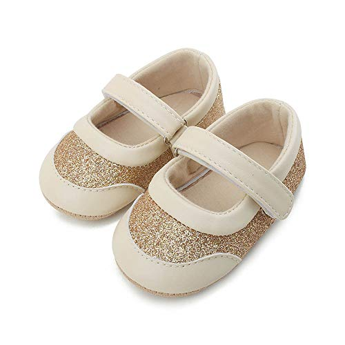 DELEBAO Babyschuhe Krabbelschuhe Lederschuhe Leder Baby Schuhe Lauflernschuhe Lederpuschen Weicher und Rutschfester Sohle für Kleinkind, Gold, 6-12 Monate