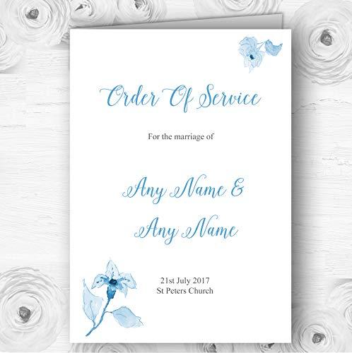 Mooie Poeder Baby Blauw Aquarel Bloemen Bruiloft Cover Orde van Dienst 60 Order of Service