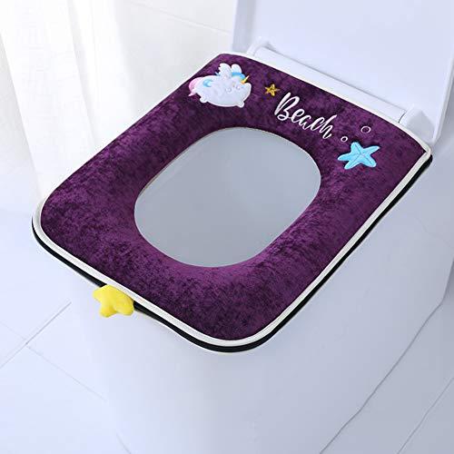 XGXQBS Vierkante badkamer toiletbril bekleding pad wasbaar Closestool warmtemat ritssluiting toilet afdekking pad kussen 44x37cm(17x15inch) lila