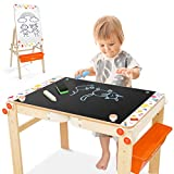Joyooss Kids Wooden Art Easel, Adjustable Art Table, Chalkboard & Whiteboard Easel for Toddler with Drawing Supplies