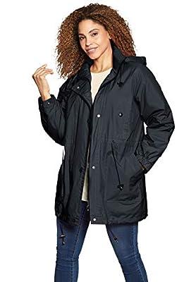 Woman Within Women's Plus Size Fleece-Lined Taslon Anorak - 1X, Black by Woman Within