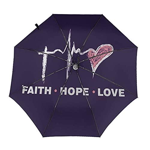 Donono Paraguas automático de tres pliegues impresión 3d fe esperanza amor portátil protección UV lluvia paraguas interior impresión para al aire libre