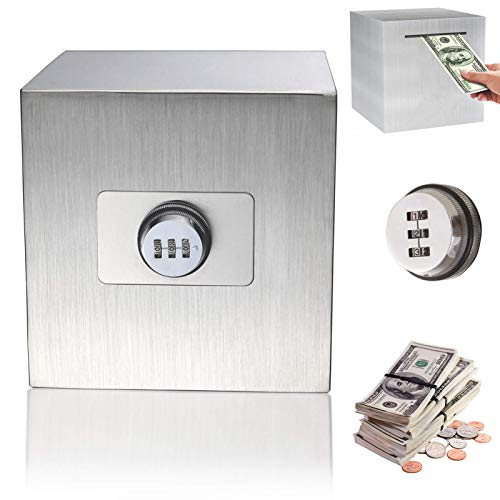 Password Stainless Steel Piggy Bank Money Safe Box Digital Cash Coin Jar for Kids Reuse Strong Huge Adult Tip Box 5.9inch