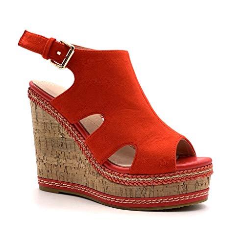 Angkorly - Damen Schuhe Sandalen Schuh-Mule - Gedeckt - Vintage/Retro - Plateauschuhe - mit Stroh - Kork Keilabsatz high Heel 12 cm - Rot 2 MK573 T 40