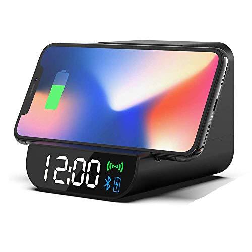 Ridioo Bluetooth Wecker Lautsprecher mit kabelloser Qi-Aufladung, LED-Zeitanzeige für Nachtwecker Handyhalter für iPhone 8/8 Plus, iPhone X Max, Galaxy Note 8, S8 / S8 + / S7 / S6, Note 5, LG G4