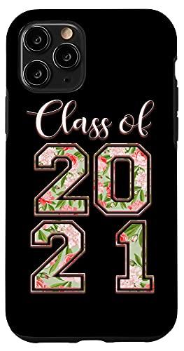 iPhone 11 Pro High School Class Of 2021 Floral Tee Senior Graduate Case
