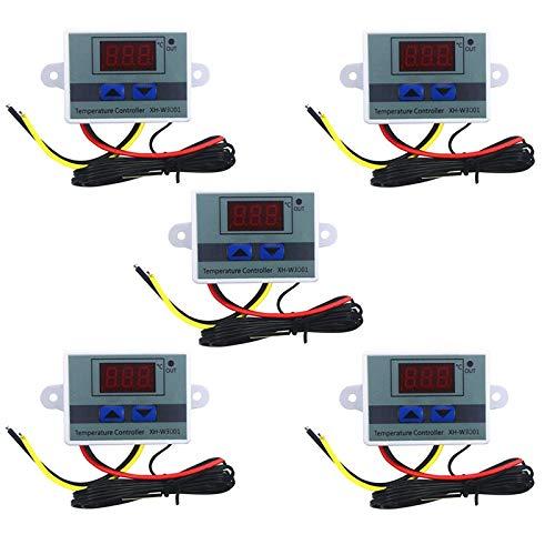 Ctzrzyt 5 Piezas 110-220V Ac Controlador de Temperatura Led Digital Xh-W3001 para Incubadora de RefrigeracióN Interruptor de CalefaccióN Termostato Ntc Sensor