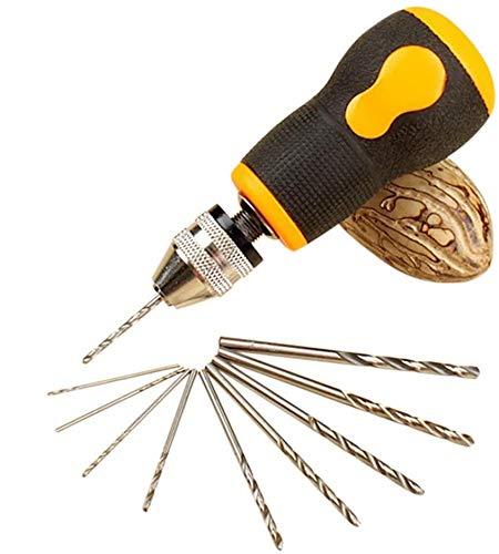 Robasiom Handbohrer-Set, Rübenkopf-Handbohrer mit 10 Stück Spiralbohrer für Handwerk Carving DIY (0,8-3mm PCB Bohrer)