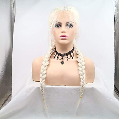 Weiße Blonde, Kunsthaar-Perücke, für Damen, handgefertigt, geflochten, Mittelteil, Lace-Front, mit Babyhaar, für Drag Queen Make-up, lang, hitzebeständig, 60# Ice Blonde 61 cm Perücke.