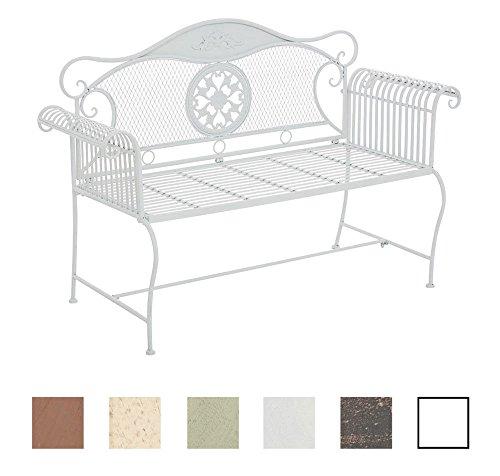 CLP Gartenbank RIKE im Landhausstil, aus lackiertem Eisen, 136 x 59 cm - aus bis zu 6 Farben wählen Weiß