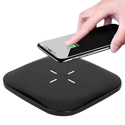 SOKER Wireless Charger 10W Wireless Fast Charging Pad for Samsung S6/S7/S8/Note 9/Note 8, LG NEXUS5-No AC Adapter(Square Black)