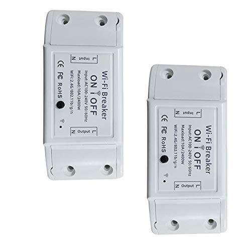 Kuinayouyi Interruptor básico R2, funciona con Alexa, dispositivos domésticos funciona con el hogar, no se requiere concentrador (paquete de 2)
