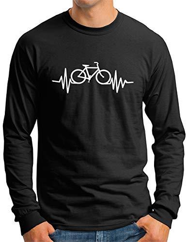 OM3® Herzschlag-Fahrrad Langarm Shirt   Herren   Bike Heartbeat Bicycle Rad Drahtesel   Schwarz, L