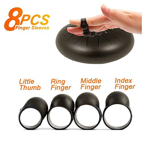 Yowin Steel Tongue Drum Finger Picks, Silicone Rubber Knocking Finger Sleeves Handpan Percussion Instrument (8 Pcs)