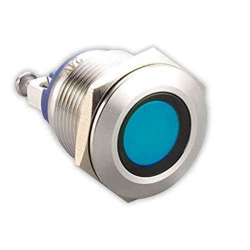 LED-Kontrollleuchte - 19 mm - V2A Edelstahl - AC/DC 6V-24V - Staub und Wasserdicht nach IP67-19 mm - Blau