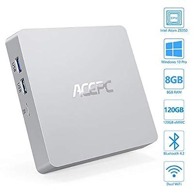 Mini PC, Windows 10 Pro Fanless Mini Computer Intel Atom Z8350 8GB DDR3/120GB eMMC Desktop Computer Support 4K HD, HDMI+VGA Output, 2.4G/5G WiFi, Bluetooth, Gigabit Ethernet