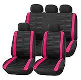 Upgrade4cars Coprisedile Universale Auto Rosa Nero | Set Copri-sedili Donna Universali per Anteriori e Posteriori | Accessori Auto Interno