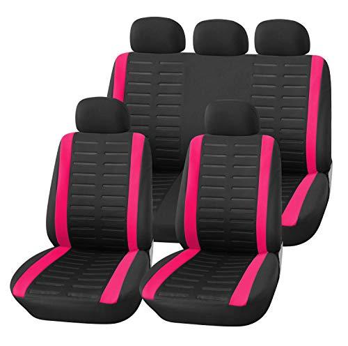 Upgrade4cars Auto-Sitzbezüge Set Universal Auto-Schonbezüge Schwarz Pink mit Teilbarer Rückbank Auto-Zubehör Innenraum