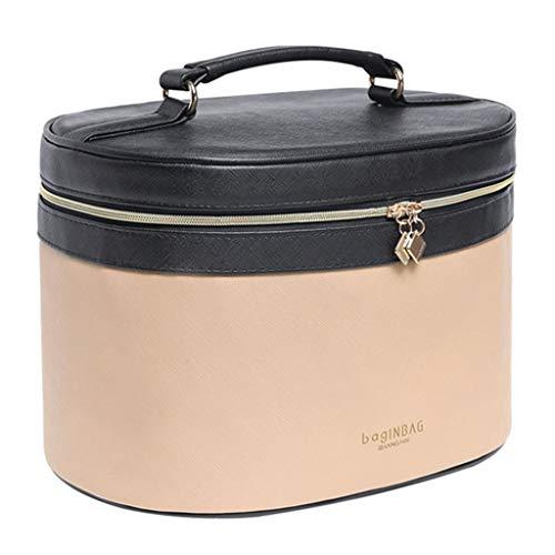 Sac cosmétique Femme Portable Simple Cosmétique Cas Super Fire Box Portable Grande Capacité Sac de Transport, Cuir, Noir Kaki, 28 * 20 * 19cm