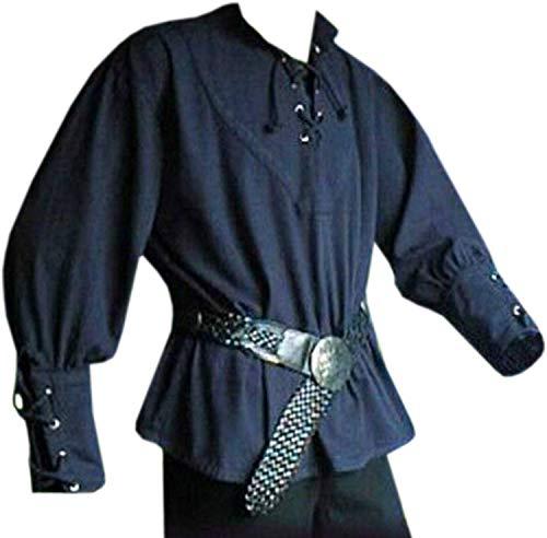 Herren Mittelalterliches Schnürhemd Pirat Söldner Schottisch Breite Manschette Hemd Kostüm Renaissance Wikinger Top - - XX-Large