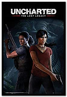 Uncharted The Lost Legacy Cover Poster Black Framed & Satin Matt Laminated - 96.5 x 66 cms (Approx 38 x 26 inches)
