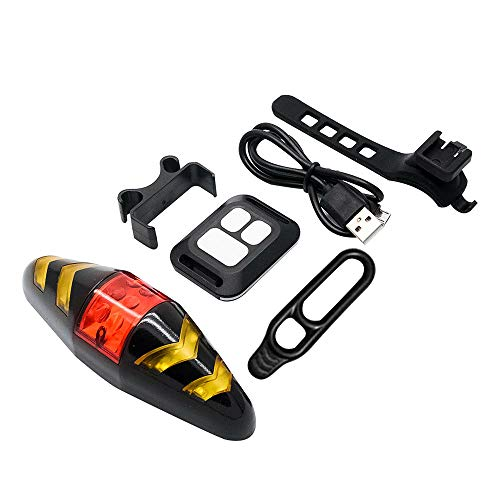 Bike Tail Light, Bike Rear Light LED, Turn Signal Lights with Wireless Remote Control Rechargeable Multifunctional Modes Waterproof Cycling Warning Light for Mountain Bike, Road Bicycle