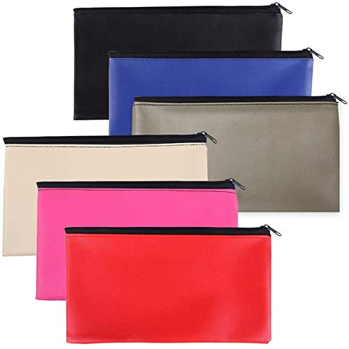 Zipper Bank Bags6 Pack Money Pouch Bank Deposit Bag PU Leather Cash and Coin Pouch Bank envelopes with Zipper Colorful
