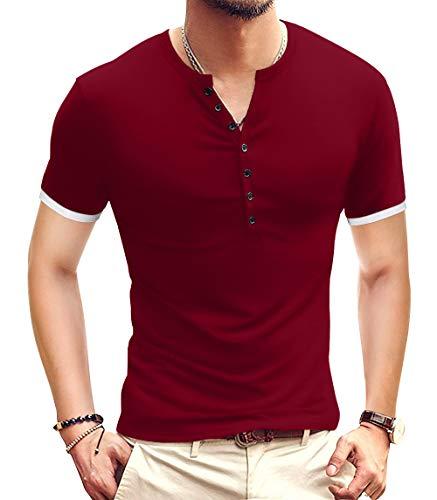 YTD Mens Casual Slim Fit Basic Henley Short Sleeve Fashion Summer T-Shirt L Wine Red