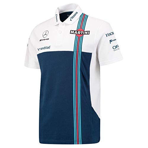 Williams Martini F1 Mercedes PQ - Polo, Color Blanco y Azul Marino, XS, Azul
