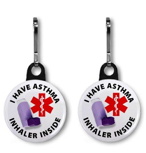 I HAVE ASTHMA INHALER INSIDE Medical Alert 2-Pack 1 Zipper Pull Charms