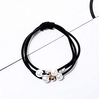 Hair band Fashion Hot Style Bowknot Floral Hair Scrunchie Women Hair Ponytail Holder Stripes Summer Elastic Hair Ties MJZCUICAN (Color : Grey, Size : One Size)
