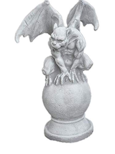 Arbrikadrex Gargoyle auf Kugel Torwächter Massive Steinfigur Gnom Drache Kobold für innen und außen, ideal auch als Geschenk