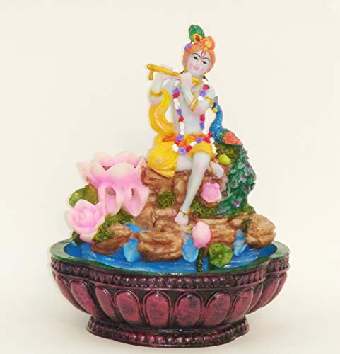 Sri Krishna Culture-Krishna with Flute Water Fountain with Light Effects-Hindu God and Goddess Idol/Statue/Murti/Figurine(7'x7'x9')