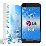 EAZY CASE 2X Panzerglas Bildschirmschutz 9H Festigkeit für LG K3, nur 0,3 mm dick I Schutzglas aus gehärteter 2,5D Panzerglasfolie, Bildschirmschutzglas, Transparent/Kristallklar