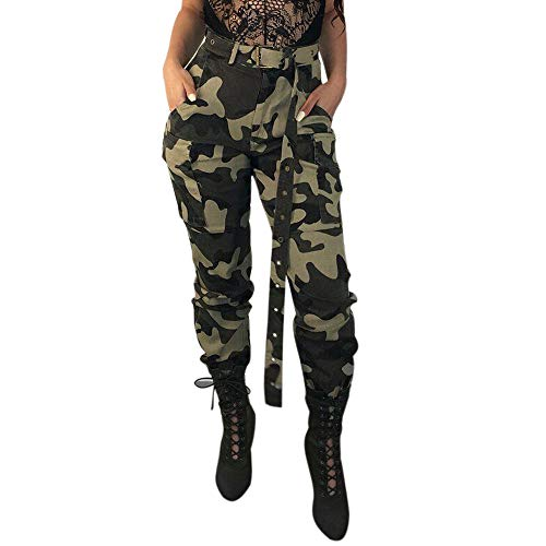 routinfly Damen Sport Sweats Hose Gürtel Hosen Seiten Taschen Laufhose,Damen Camo Cargohose Freizeithose Military Combat Camouflage Pants S-3XL
