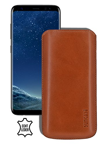 Suncase Original lederen etui voor Samsung Galaxy S8 Plus zakje ultra slim mobielzakje leren tasje beschermhoes case (met terugtrekglas), cognac
