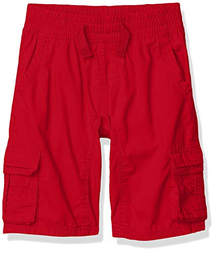 Southpole - Kids Boys' Little Belted Mini Canvas Cargo Shorts in, Red Elastic, Large