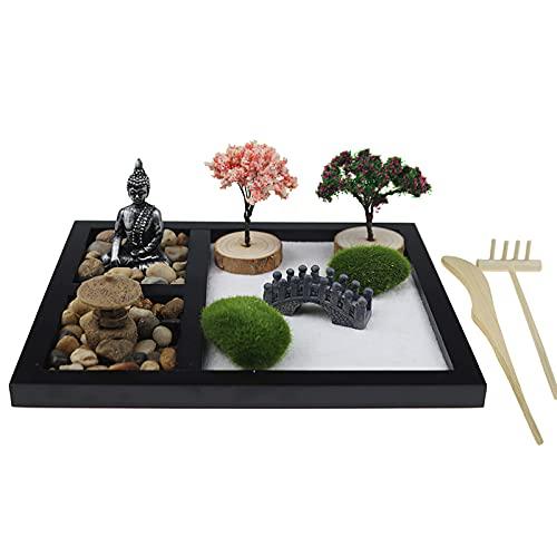 ConpConp Kit de jardín Zen, jardín zen japonés para escritorio, jardín de mesa, arena, meditación con puente rastrillos de bambú, árbol bonsái, plantas, kit de herramientas para salón, club, yoga